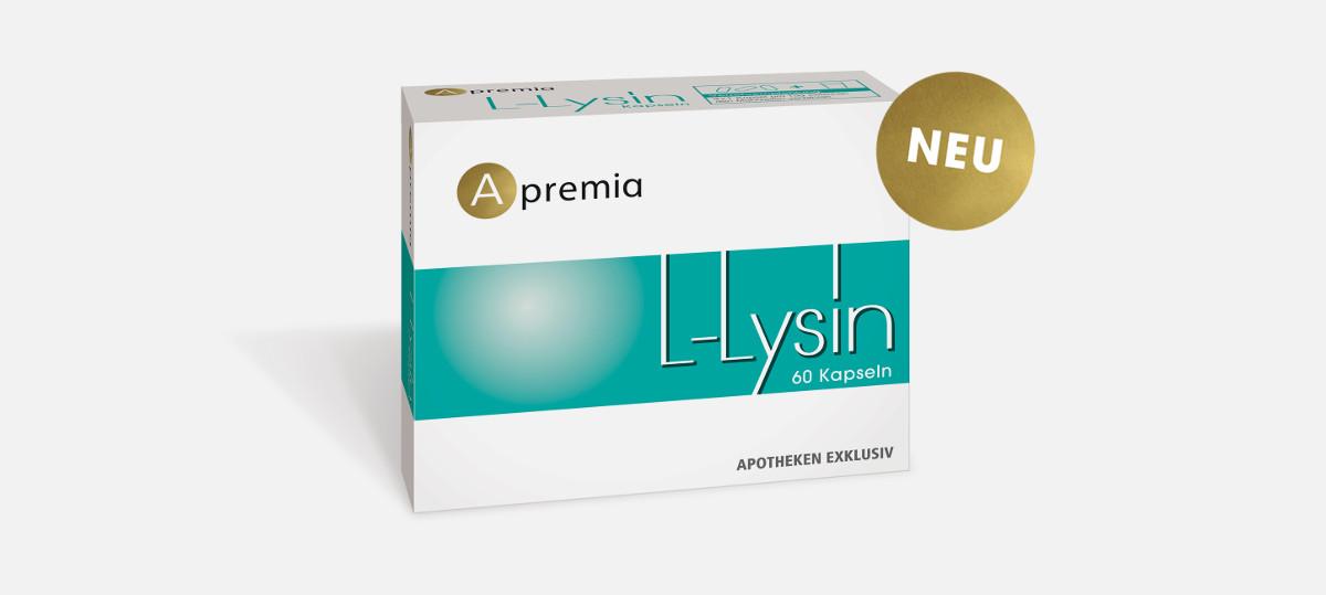 Verpackung Apremia L-Lysin Kapseln